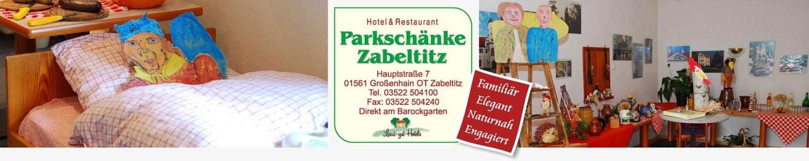 Speisekarte des Restaurants der Parkschänke Zabeltitz